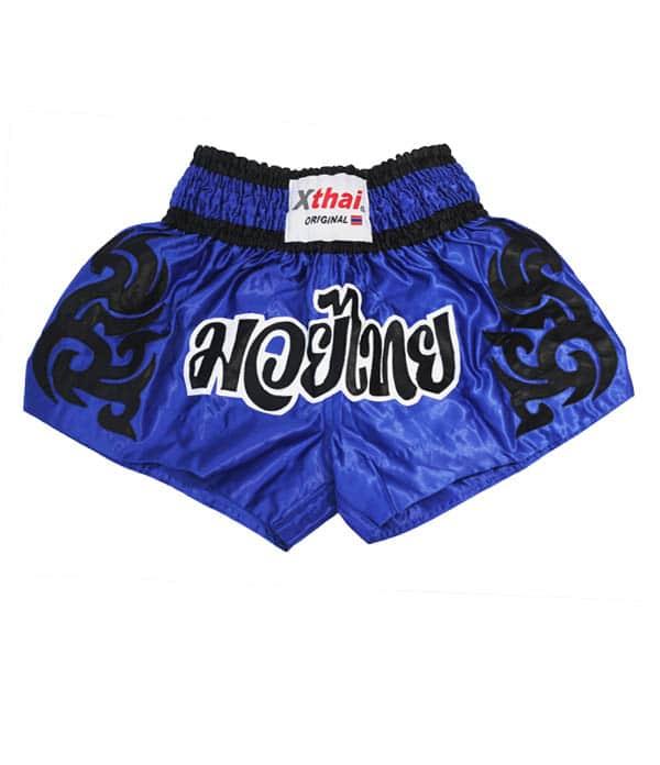 Xthai Short de Boxe Thai Tribal Bleu/Noir